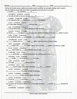 Clothing Items Missing Words Spanish Worksheet