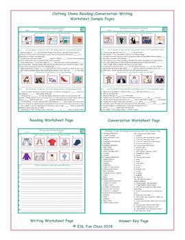 Clothing Items Reading-Conversation-Writing Worksheets