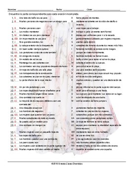 Clothing Items Sentence Match Spanish Worksheet