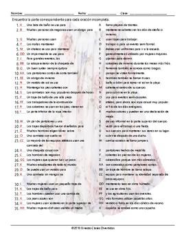 Clothing Items Sentence Match Spanish Worksheet