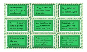 Clothing Items Spanish Card Game