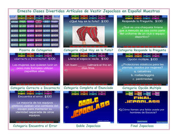 Clothing Items Spanish Jeopardy Game