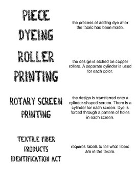 Clothing Management 1 Unit 2: Dyeing and Printing Flashcards/Matching Game