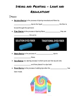 Clothing Management 1 Unit 2: Dyeing and Printing Guided Notes
