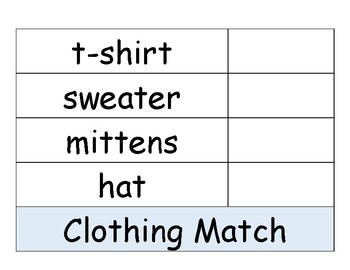Clothing Match to Word Activity