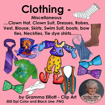 Clothing Clip Art vest  swim suit robe bow tie skirt clown hat and suit