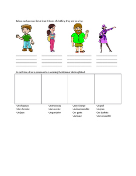 Clothing Nouns Activity
