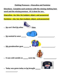 Clothing Pronouns with pictures
