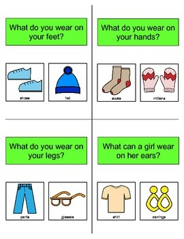 Clothing QUESTION Cards, Flashcards, SPEECH THERAPY, Autism, Language