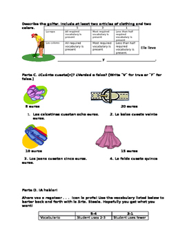 Spanish Clothing Quiz - Modified for Special Needs