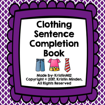 Clothing Sentence Completion Book