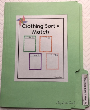 Clothing Sort for Autism Early Childhood Special Education