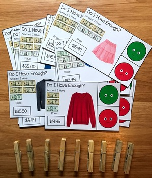 """Clothing Store Task Cards:  """"Do I Have Enough Money?"""""""