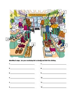 Clothing Store Vocabulary Worksheet