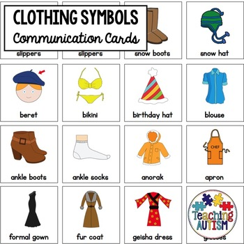 Clothing Symbol Support Cards - Autism
