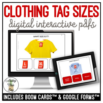 Clothing Tag Sizes Digital Interactive Activity