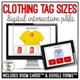 Clothing Tag Sizes Digital Interactive Activity