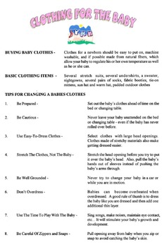 Clothing The Baby Lesson