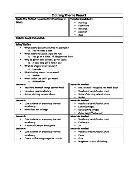 Clothing Themed Lesson Plan2