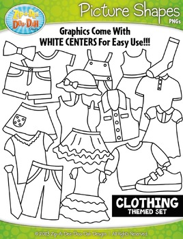 Clothing Themed Picture Shapes Clipart Set — Includes 20 Graphics!