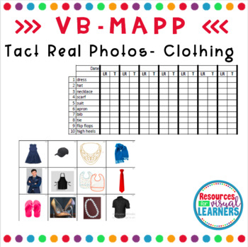 Clothing Themed Real Picture Cards Aligned to VB-MAPP