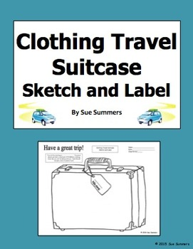 Clothing Travel Suitcase Sketch and Label