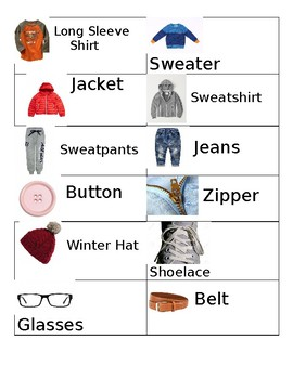 Clothing Unit Word Cards
