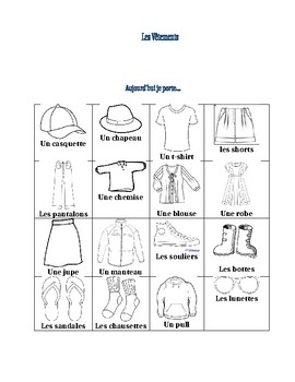 Clothing Visual Dictionary in French