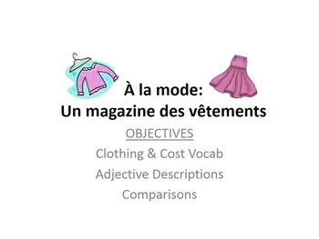 Clothing Vocab Project for French Students