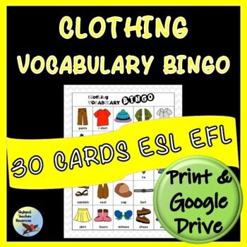Clothing Vocabulary BINGO for ESL EFL ELL