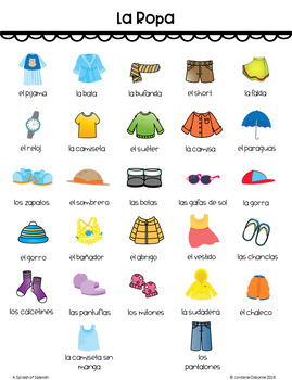 Clothing Vocabulary Game in Spanish