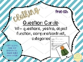 Clothing Vocabulary: Question cards