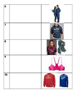 Clothing Vocabulary Quiz, Part II