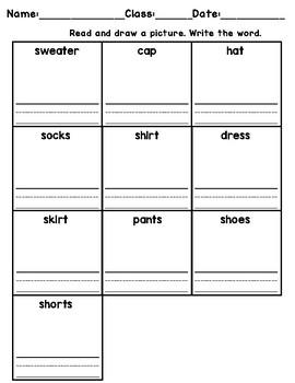 Clothing Vocabulary - Read + Draw