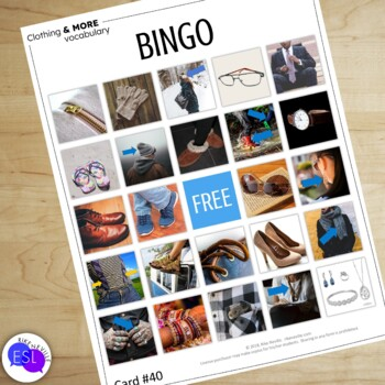 Clothing Vocabulary for ESL Adults BINGO CARDS