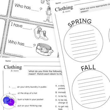 Clothing Vocabulary for ESL Adults WORKSHEETS