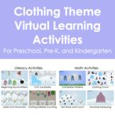 Clothing/Winter Theme Virtual Distance Learning Activities Preschool, Pre-K, K