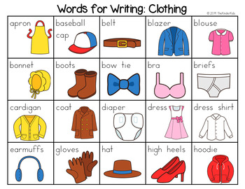 Clothing Word List - Writing Center
