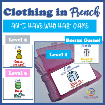 Words for Clothing in French--I Have/Who Has Game with BONUS GAME!