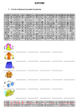 Clothing Wordsearch