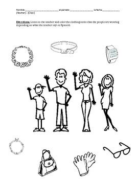 Clothing Worksheet  / La Ropa