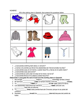 Clothing and AR Verb Conjugation in class activity or HW