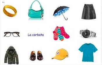 What's Missing? Clothing and Accessories Spanish Memory Game