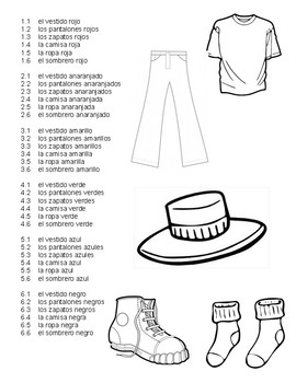 Clothing and Colors Dice Game
