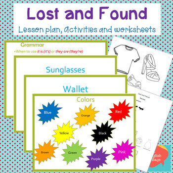 "Clothing and Colors ESL ""Lost and Found"" lesson and activities"