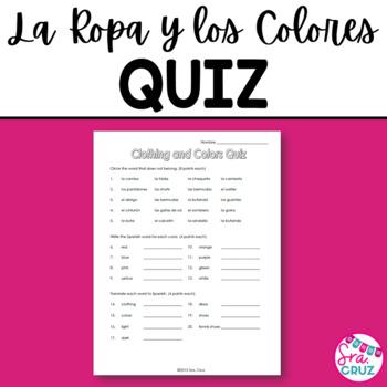 Clothing and Colors Quiz / La Ropa y los Colores
