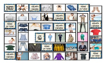 Clothing and Fashion Spanish Legal Size Photo Board Game