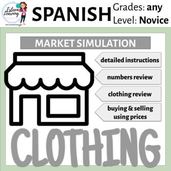 Interactive Notebook Clothing Lesson and Market Simulation - Spanish or French