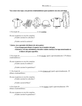 Clothing and exchange rates practice: Spanish