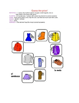 Clothing and prices (hundreds) activity / quiz